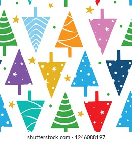 Seamless Christmas pattern. Vector pattern with colorful triangle new year trees, stars and snowflakes.