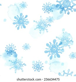 Seamless christmas pattern with watercolor vector snowflakes
