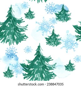 Seamless christmas pattern with watercolor vector trees