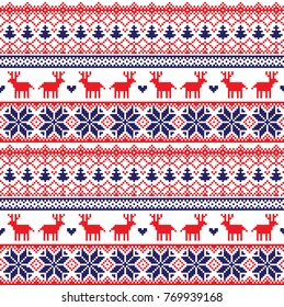 seamless christmas pixel pattern, Norwegian style