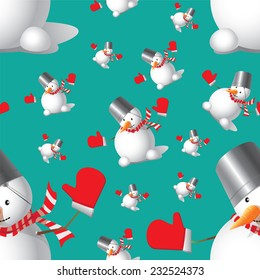 Seamless Christmas Snowman different sizes on a blue-green background