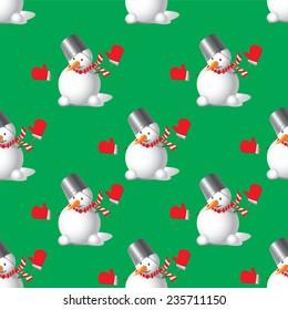 Seamless Christmas Snowman on green background