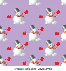 Seamless Christmas snowman on a violet background
