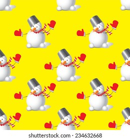 Seamless Christmas Snowman on a yellow background