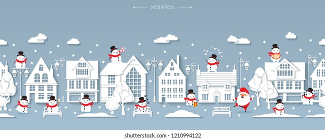 Seamless Christmas street, Scandinavian style white paper buildings with funny Santa Claus and snowmen, lanterns, benches, trees, snowflakes, snowdrifts, wintertime, vector illustration