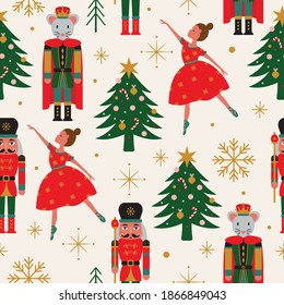 Seamless Christmas Tree Pattern with Ballerina, Nutcracker, and Mouse King.+