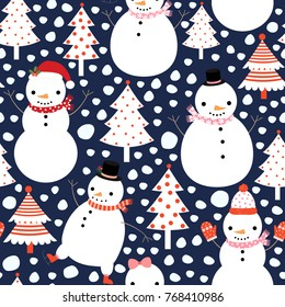 Seamless Christmas vector pattern with cute snowmen and trees for gift wrapping and holiday backgrounds