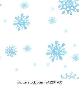 Seamless Christmas watercolor vector pattern with snowflakes