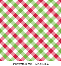 Seamless Christmas wrapping paper pattern. Festive Christmas gingham pattern background.