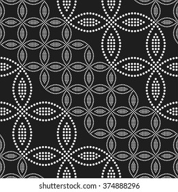 Seamless circle pattern. Flowers, Petals and Leaves. Abstract Black and white Background. Ethnic Textile background. Chain Dotted background. Geometric Pattern. Zigzag pattern. Vector Regular Texture