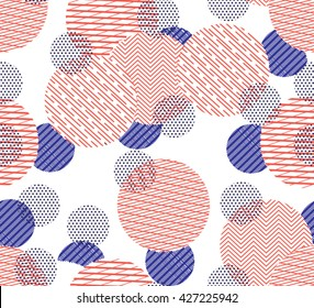 Seamless Circle Pattern with polka dots,stripes. Abstract Background.