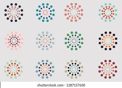 Seamless circle pattern. Vector design element set