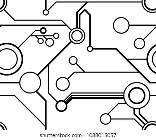 Seamless circuitry pattern in black and white