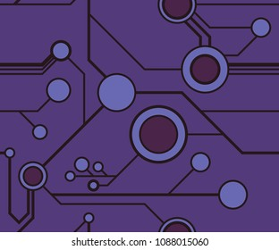 Seamless circuitry pattern in purples