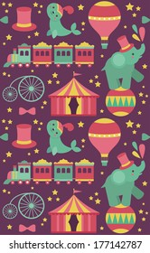seamless circus pattern design. vector illustration