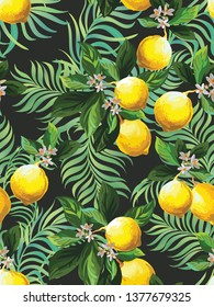 Seamless citrus pattern with palm leves.Hand drawn vector illustration with lemons.Template for print, textile,wallpaper cover and box design.