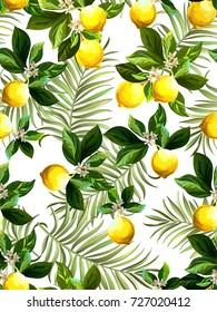 Seamless citrus pattern with palm leves.Hand drawn vector illustration with lemons.Template for print, textile,wallpaper cover and box design