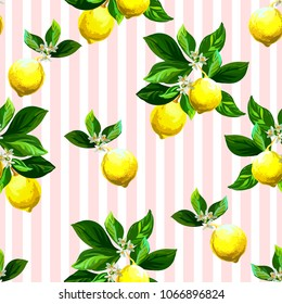 Seamless citrus pattern with stripes.Hand drawn vector illustration with lemons.Template for print, textile,wallpaper cover and box design