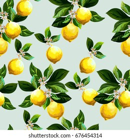 Seamless citrus pattern.Hand drawn vector illustration with lemons.Template for print, textile,wallpaper cover and box design.