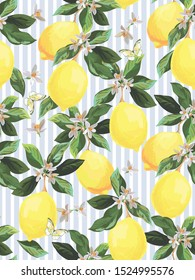 Seamless citrus vector pattern. Exotic background. Hand drawn illustration with lemons. Tropical fruit wallpaper.