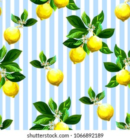 Seamless citrus vector pattern on striped background. Hand drawn illustration with lemons.
