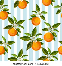 Seamless citrus vector pattern on striped background. Hand drawn illustration with oranges.