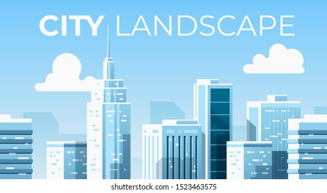 Seamless city landscape. Cityscape with buildings. Urban silhouette. Beautiful background template. Modern smart city with layers. Cartoon design. Flat style vector illustration.