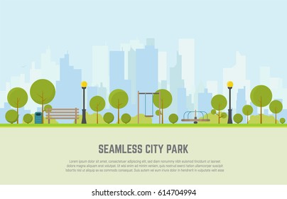 Seamless city park bench, lawn and trees, trash can, swings and carousels. Flat style vector. On background business city center with skyscrapers. Green park vegetation in center of big town.