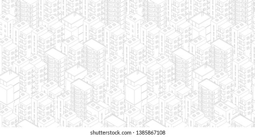 Seamless city pattern. Buildings roofs white light background. Isometric top view. Vector illustration stock. Gray lines outline contour style.