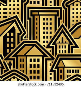 Seamless City Pattern in Golden Style. Vector Illustration for Cover Design