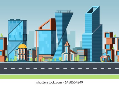 Seamless city. Urban landscape with buildings and office cityscapes with street traffic vector panorama 2d game pattern. Illustration of modern building skyscraper construction