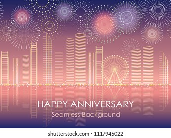 Seamless cityscape with celebration fireworks, vector illustration. Horizontally repeatable.