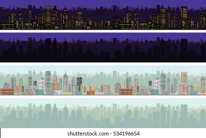 Seamless Cityscape Day, Night Variation. Set of Connectible Blocks Skyline. Vector Design Pattern
