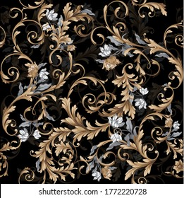 Seamless classic baroque pattern with graphic flowers on black background