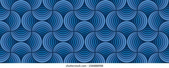 Seamless Classic Blue Striped Petals Deep Blue Background Vector Pattern - Shutterstock ID 1584888988