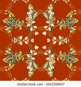 Seamless classic golden pattern. Vector traditional orient ornament. Golden pattern on orange, brown and yellow colors with golden elements.