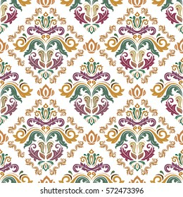 Seamless classic vector colored pattern. Traditional orient ornament. Classic vintage background.