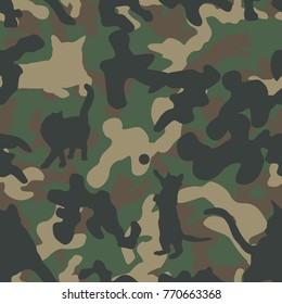 Seamless classic woodland camo with cat silhouettes incorporated pattern vector