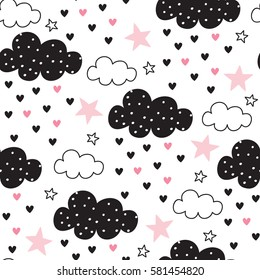 seamless clouds and stars pattern vector illustration