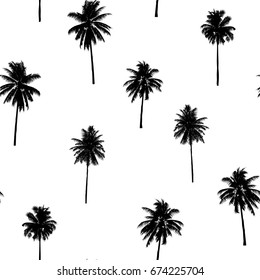 seamless coconut trees pattern for fashion textile, black plant vector illustration