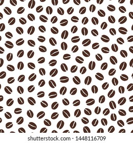 Seamless Coffee Bean Pattern in White Background