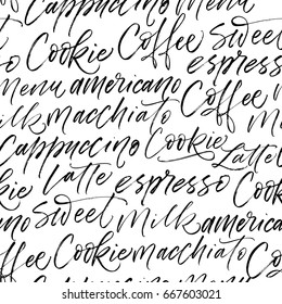 Seamless coffee pattern. Coffee, Latte, Milk, Macchiato, Americano phrases. Ink illustration. Hand drawn ornament for wrapping paper.