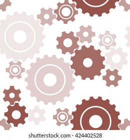 Seamless cogwheel pattern, machinery background. Vector