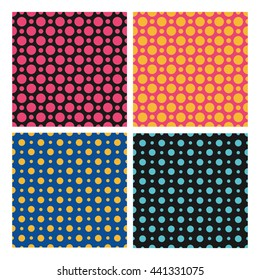 Seamless color dots patterns set, vector backgrounds. Polka dots seamless pattern, pattern collection. Seamless geometric pattern with dots for textile print, wallpaper and cover