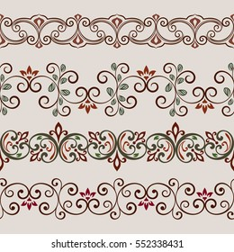 Seamless color floral border vector template. Flower ornament repeating divider.