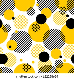 Seamless color vector pattern background with circles, stripes, dots