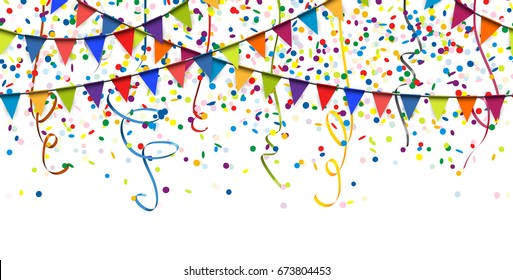 seamless colored garlands, streamers and confetti background for party or festival usage