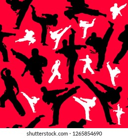 Seamless Colored Pattern martial arts, karate, MMA logo presswall. Design judo, taekwondo, hapkido, karate.