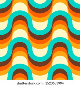 Seamless colorful 70s pattern design. Wavy repetitive pattern with retro waves. Vector illustration for your graphic design.