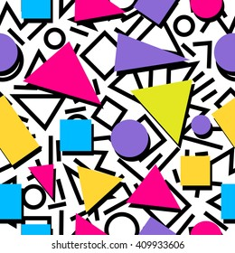 Seamless colorful abstract geometric pattern in 80th retro memphis style
